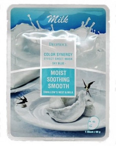Маска с молочными протеинами и гнездом ласточки DEOPROCE Color synergy effect sheet mask sky blue 20г