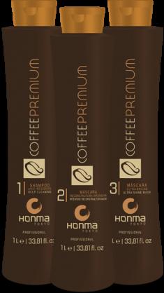 HONMA TOKYO Набор для выпрямления сильно вьющихся, кудрявых волос (шампунь 1000 мл, кератин 1000 мл, маска 1000 мл) Coffee Premium All Liss