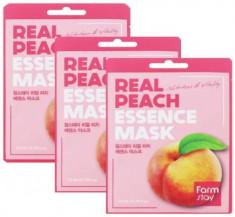 Набор тканевых масок с экстрактом персика FarmStay REAL PEACH ESSENCE MASK 23мл*3