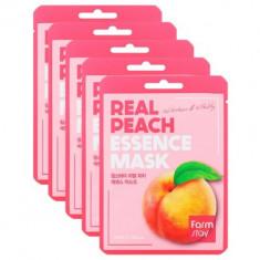 Набор тканевых масок с экстрактом персика FARMSTAY REAL PEACH ESSENCE MASK 23мл*5
